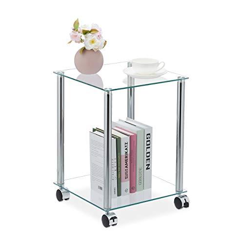 Relaxdays Beistelltisch mit Rollen, 2 Ablagen, eckig, Wohnzimmer, Glas & Stahl, mobiler Couchtisch, transparent/silber