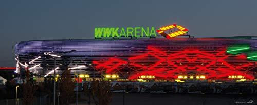 Blue-Letter Stadion Augsburg außen – hochwertiger FineArtPrint (240 cm x 100 cm)
