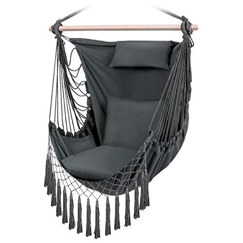 Sunix Hängesessel mit 3 Kissen, XXL Hängestuhl für Erwachsene & Kinder, Belastbar bis 150 kg Baumwolle Hängematte, Hängesitz für Indoor/Outdoor Zuhause Schlafzimmer Terrasse Hof Garten