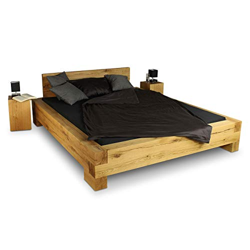 GREENHAUS Massivholzbett 160x200 cm Eiche massiv Holz Handarbeit und Massivholz aus Deutschland Balkenbett Vollholz Bett