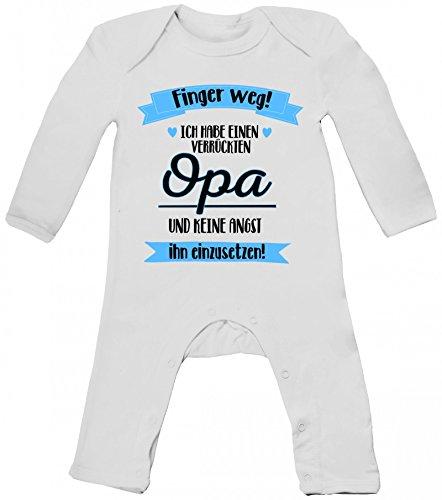 ShirtStreet Lustige Geschenkidee Vatertag Baby Strampler Langarm Schlafanzug Jungen Mädchen Ich habe einen verrückten Opa, Größe: 3-6 Monate,White