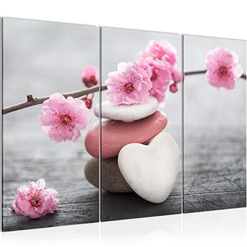 Runa Art Feng Shui Blumen Bild Wandbilder Wohnzimmer XXL Rosa Stein Herz 120 x 80 cm 3 Teilig Wanddeko 500131a