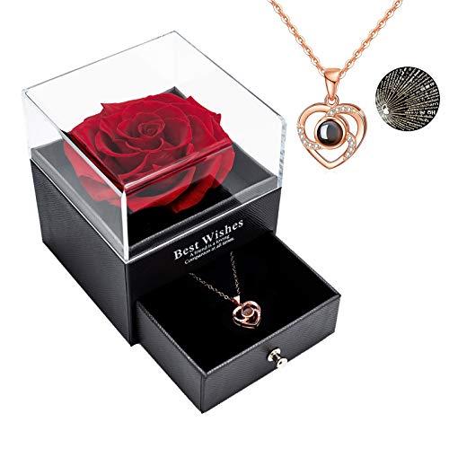 Erhaltene echte Rose Ewige handgemachte erhaltene Rose mit Liebe Sie Halskette, verzauberte echte Rose Blume zum Valentinstag Jubiläum Jäten Geburtstag romantische Geschenke für Sie (Red)