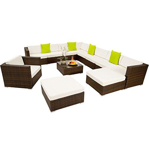 TecTake Hochwertige XXL Aluminium Poly-Rattan Lounge Sitzgruppe Set inkl. Klemmen - Diverse Farben - (Schwarz-Braun | Nr. 401509)