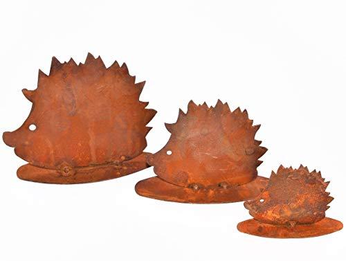 Rostikal | Herbstdeko Igel Figuren | Rost Dekofiguren für Garten und Wohn Herbst Dekoration | 3er Set