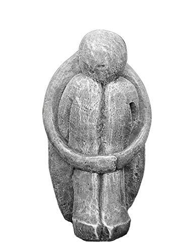 Tiefes Kunsthandwerk Steinfigur Single in Schiefergrau, abstrakte Deko-Figur für Haus und Garten, Moderne Statue als Garten-Figur