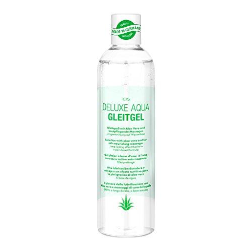 Gleitgel 2-in-1 Massagegel, wasserbasiertes EIS Deluxe Aqua Gleitmittel mit sinnliche Liebesmassagen, gefühlsechtes Empfinden, 300ml mit Aloe Vera