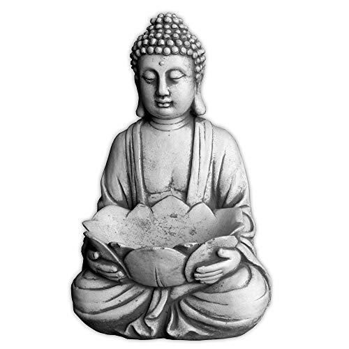 gartendekoparadies.de Massiver Stein Buddha mit Schale Mönch Gartendeko Raumdeko Steinguss frostfest