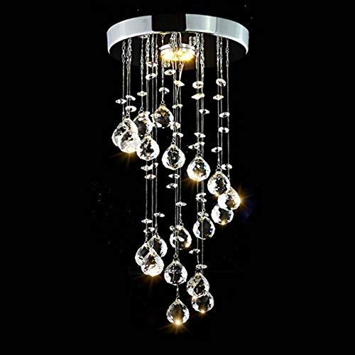 SPICOM E Moderne Deckenleuchte Elegant Chrom K9 Kristall Spirale Regen LED Design Hängelampen Kronleuchter Energieklasse A+ für Kinder Schlafzimmer Wohnzimmer Küche Büro (warmes Licht)