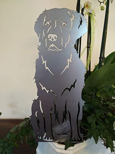 Gartendeko Fockbek Metallfigur Stecker Blumenstecker Figur Golden Retriever Hund Höhe ca. 40 cm Rostdeko Rostfigur