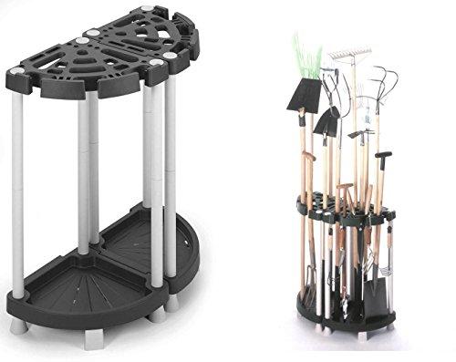 Kreher Variabler Gartengerätehalter aus robustem Kunststoff in Schwarz/Grau. Teilbar als Eck- oder Wandlösung. Für viele Geräte, wie Besen, Spaten, Rechen, u.v.m. Maße: 73 x 37,5 x 77,5 cm