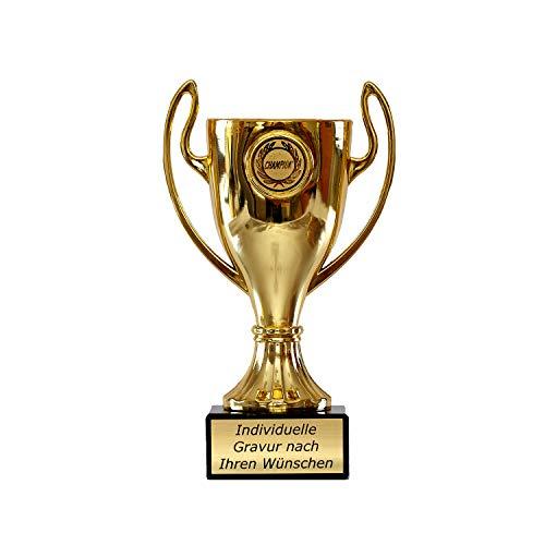 Zelaro Pokal in Gold mit Wunschtext - Trophäe für Kinder - Henkelpokal als Geschenk für Frauen und Männer mit Emblem Champion 16,5 cm hoch