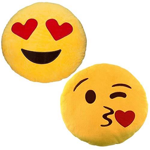 JZK 2 x Rund dick plüsch Emoji Kissen, 32cm Emoticon Kissen Emoji Geschenk Spielzeug Zubehör, Gelb (Kissen, Kuss + Herzaugen)