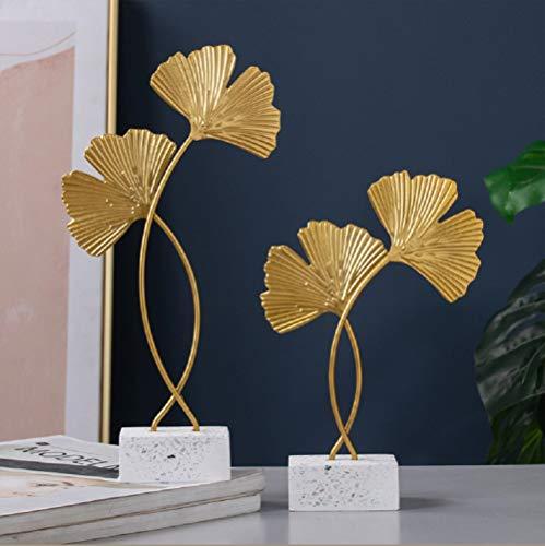 Omela Deko Figuren Gold Blätter aus Metall Modern Dekofigur Klein Deko Objekt Tischdeko für Wohnzimmer Outside Garten Modern Skulptur Accessoires Geschenkidee 4 x 14 x 21 cm