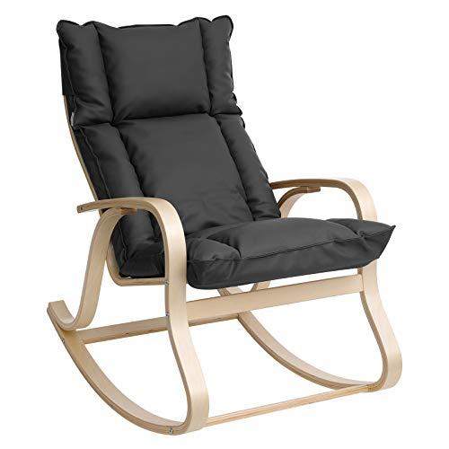 SONGMICS Schaukelstuhl aus Birkenholz, Relaxstuhl mit gepolstertem Sitzkissen, für Wohnzimmer, Balkon, Bezug aus Kunstleder, einfache Montage, grau LYY31GY