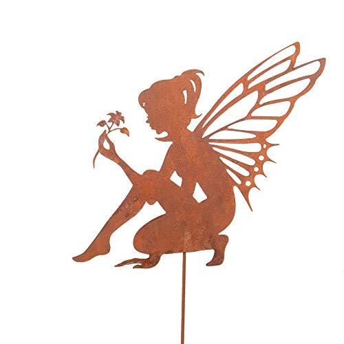 RM Design Zink Elfe sitzend mittel, Gartendeko Rostoptik, Gartenstecker aus Edelrost, Rost Deko für Garten, Terrasse Balkon Blumentopf