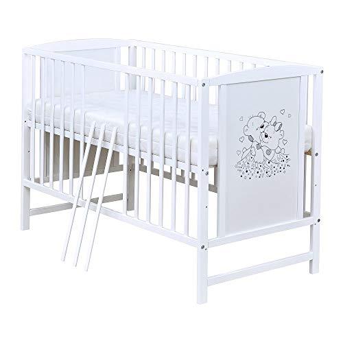 Baby Delux Babybett Kinderbett Gitterbett Bärchen 120x60 Weiß mit Matratze