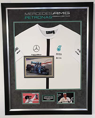 www.signedmemorabiliashop.co.uk Lewis Hamilton signiertes Foto und Mercedes AMG Shirt