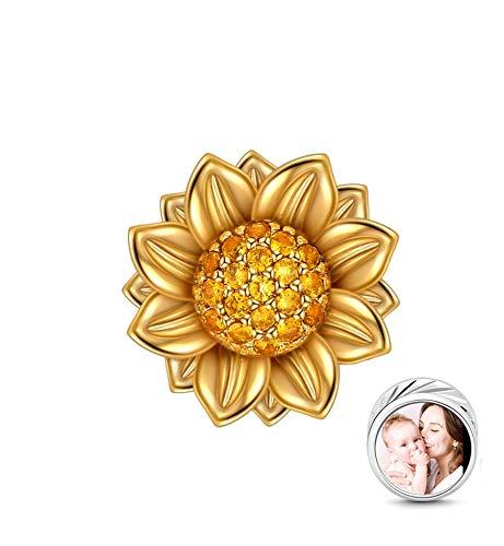 LONAGO 925 Sterling Silber Personalisierter Foto Charme Sie Sind Mein Sonnenschein Sonnenblumenperlen Charme Passend für Pandora & Europäische Armbänder