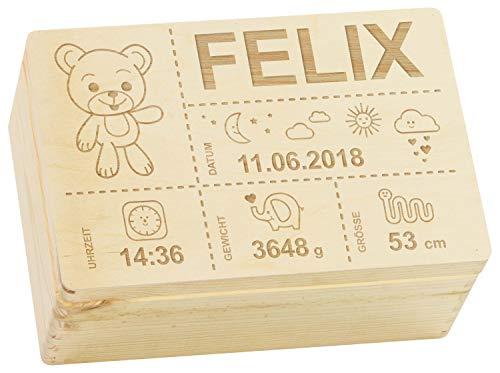 LAUBLUST Holzkiste mit Gravur Personalisiert  Teddybär Motiv  Zur Geburt - 30x20x14cm, Natur, FSC