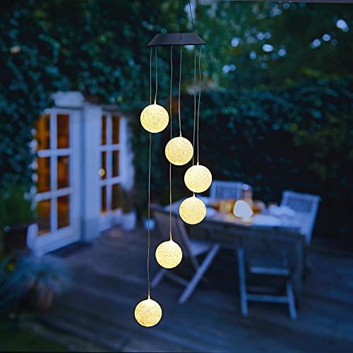 kamelshopping Solar Windspiele für Draußen, Windspiel mit Beleuchtung, warm-weiß oder Farbwechsel, Solarleuchte zum Hängen, wasserdicht, solarbetrieben (Kugeln)