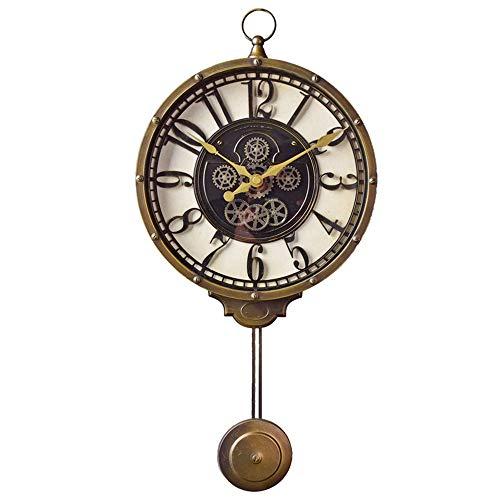 DAMAI STORE Arbeiten Sie Kreatives Wohnzimmer Wanduhr Schlafzimmer Haus Dekorative Retro Nostalgie Uhr- 27 * 57cm (Color : Gold)