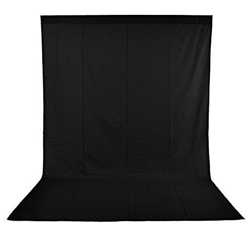 Neewer 6 x 9FT / 1,8 x 2,8 M Fotostudio 100% reines Muslin Faltbare Hintergrund-Hintergrund für Fotografie, Video und Fernsehen (Schwarz)