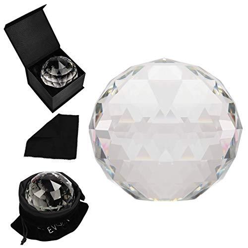 BELLE VOUS Kristallglas Kugel Feng Shui - 8 cm Prisma Fotografie Sonnenfänger mit Samttasche, Mikrofasertuch & Geschenke Schachtel - Esoterische Geschenke Prisma Kristall für Mediation & Heilung