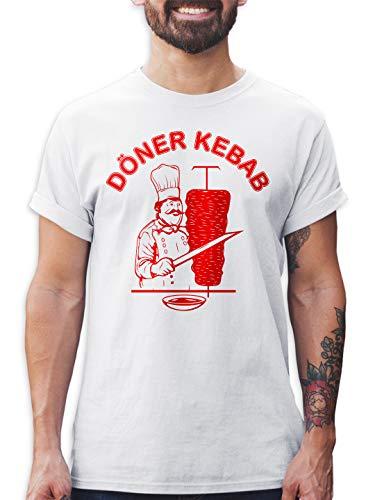 Shirtracer Döner Kebab Herren T-Shirt und Männer Tshirt (Weiß, L)
