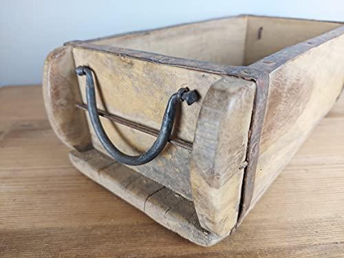 BEL Alte Ziegelform Einfachig mit Henkel mit Old Wax Finish Holzkiste Holzbox Aufbewahrungsbox Gartendeko Vintage Bad Deko Tischdeko Blumendeko Shabby Chic Deco | Wähle Deine Lieblingsverwendung