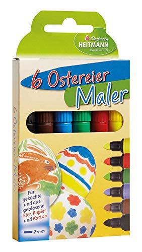 Heitmann Eierfarben 60008 - Malstifte zum Bemalen von Ostereiern, 6er Set