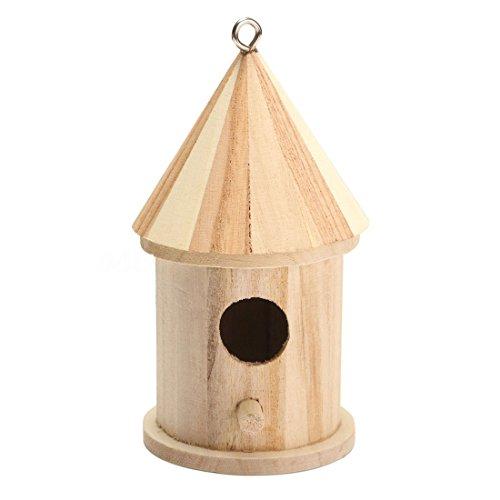 cherrypop Vogelhaus aus Holz, zum Aufhängen, Nistkasten mit Haken, für Zuhause, Garten, Dekoration, Holzfarbe, Größe: 16 cm x 7,8 cm.