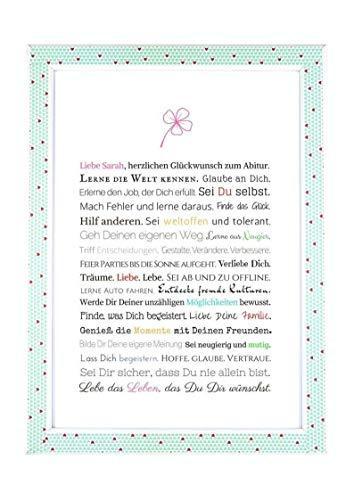 Abitur - Geschenkidee zum Abitur - Personalisiertes Bild mit Rahmen als Geschenk für die junge Erwachsene - Abiturgeschenk für Mädchen/Frauen oder Beigabe zum Geldgeschenk