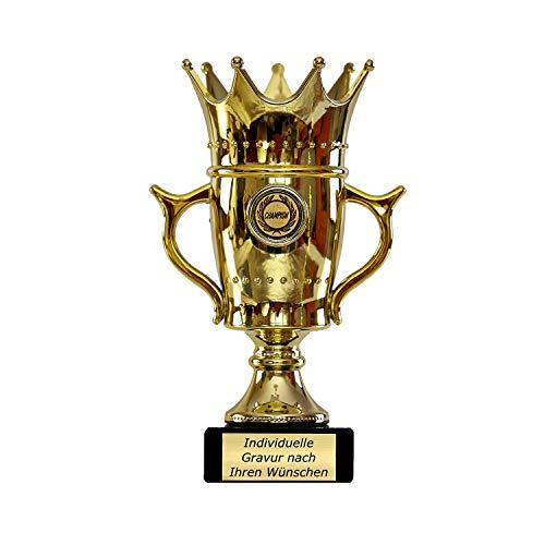 Zelaro Goldener Pokal mit Gravur - Geschenk individuell personalisiert für Frauen und Männer - Siegerfigur mit Champion Emblem 22,5 cm hoch