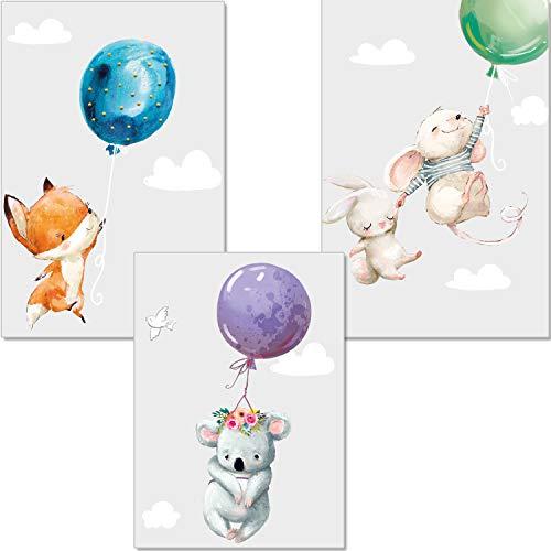 artpin 3er Set Poster Kinderzimmer Deko - Bilder Babyzimmer DIN A4 - Wandbilder Mädchen Junge - Kinderposter Hase Maus Fuchs Luftballons Wolken (P45)