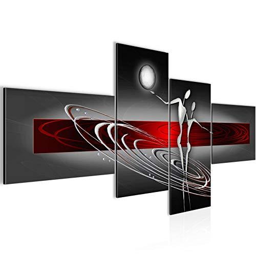 Wandbild Abstrakt Figuren Wohnzimmer Bild XXL Schlafzimmer Grau Rot ✭ 100% Made in Germany ✭ 301245a
