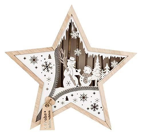 III Stern aus Holz mit LED Beleuchtung, Schneemann, ca. 32 x 32 x 5 cm, mit 6 Stunden Timer, batteriebetrieben, für Weihnachten, im Winter, als Stimmungslicht, Braun