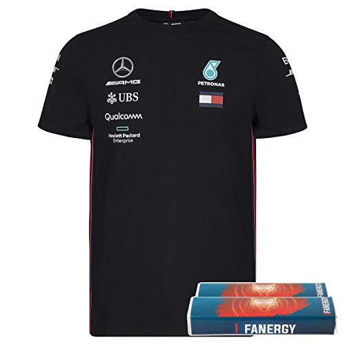 Mercedes AMG Team T-Shirt Formel 1 Fanartikel schwarz 2019 + FANERGY Traubenzucker (XXL)