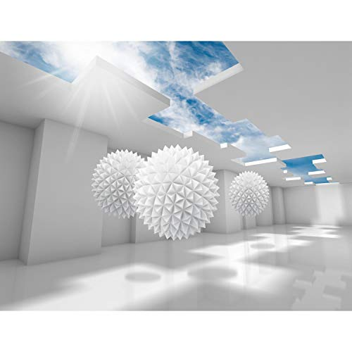 Fototapete 3D Abstrakt 352 x 250 cm Vlies Tapeten Wandtapete XXL Moderne Wanddeko Wohnzimmer Schlafzimmer Büro Flur Weiss Blau 9182011a