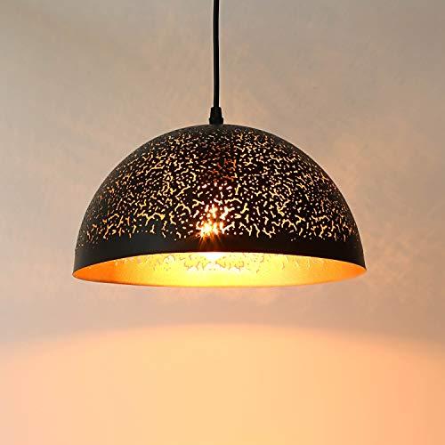 Louvra Pendelleuchte Retro Hängelampe Industrie Kronleuchter Edison Vintage E27 Hohl Metall Schwarz für Bar Restaurant Loft Wohnzimmer Esstisch usw. (ohne Glühbirne)