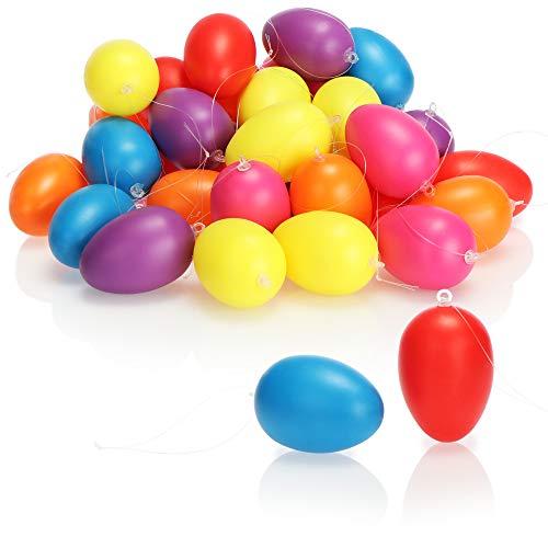 com-four® 36x Ostereier zum Aufhängen - Osterdeko in kräftigen Pastellfarben - Deko Ostereier - Größe: 6 cm