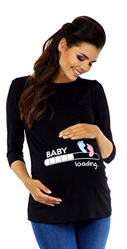 Zeta Ville - Damen Umstands-Oberteil Top T-Shirt Witzige Baby Loading Druck 549c, Schwarz, EU 40/42