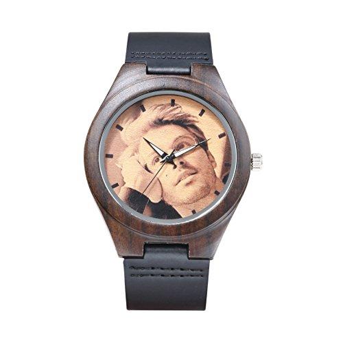 KENON schwarz Custom Echt Leder Sport Holz Armbanduhr Personalisierte Quarz Damen und Herren Armbanduhr