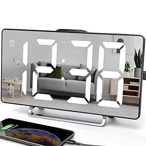ANJANK Digitaler Wecker,9' Große LED Spiegel Wecker Am Bett,0-100% Dimmer,2 USB- Ladeanschlüsse,Doppelalarm mit Wochentag- und Wochenendmodus,Schlummermodus,Schlafzimmer Dekoration für Mädchen