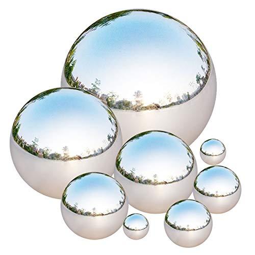 Tiberham Edelstahl Gazing Ball, 8 Stück 42-200mm Spiegelpolierte Hohlkugel Reflektierende Gartenkugel Schwimmende Teichkugeln Nahtlose Gazing Globe für Haus Garten Ornament Dekorationen