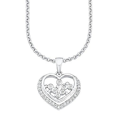 s.Oliver Damen-Kette mit Anhänger Herz 925 Silber rhodiniert Zirkonia weiß 45 cm