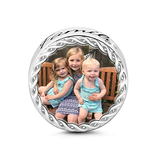 GNOCE Personalisiert Foto Charms Stammbaum Foto Charme mit Mehrfarbenkristall S925 Charme für Armband und Halskette Denkwürdiges Geschenk