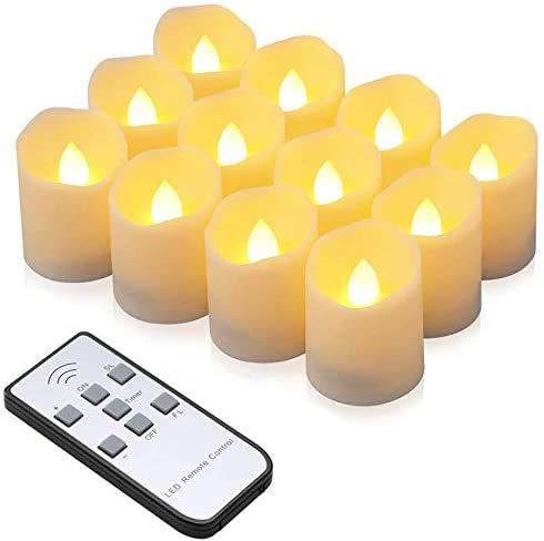 LED Kerzen, synmixx 12 LED Flammenlose Teelichter Flackern Kerzen mit Fernbedienung, Timerfunktion, Dimmbar, Elektrische Kerze Lichter für Weihnachtsdeko, Party, Geburtstags (Warmweiß)