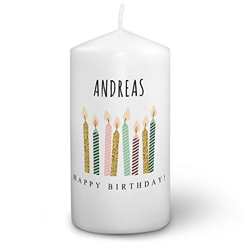Kerze mit Namen Andreas - Fotokerze mit Design Happy Birthday - romantische Wachskerze, Taufkerze, Hochzeitskerze, Stumpenkerze