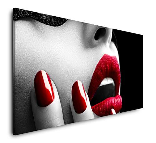 Paul Sinus Art Frau mit roten Lippen 120x 60cm Panorama Leinwand Bild XXL Format Wandbilder Wohnzimmer Wohnung Deko Kunstdrucke